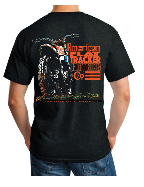 "AMERICAN FLAT TRACKER ""RBV"" BLACK - FRONT AND BACK PRINT"