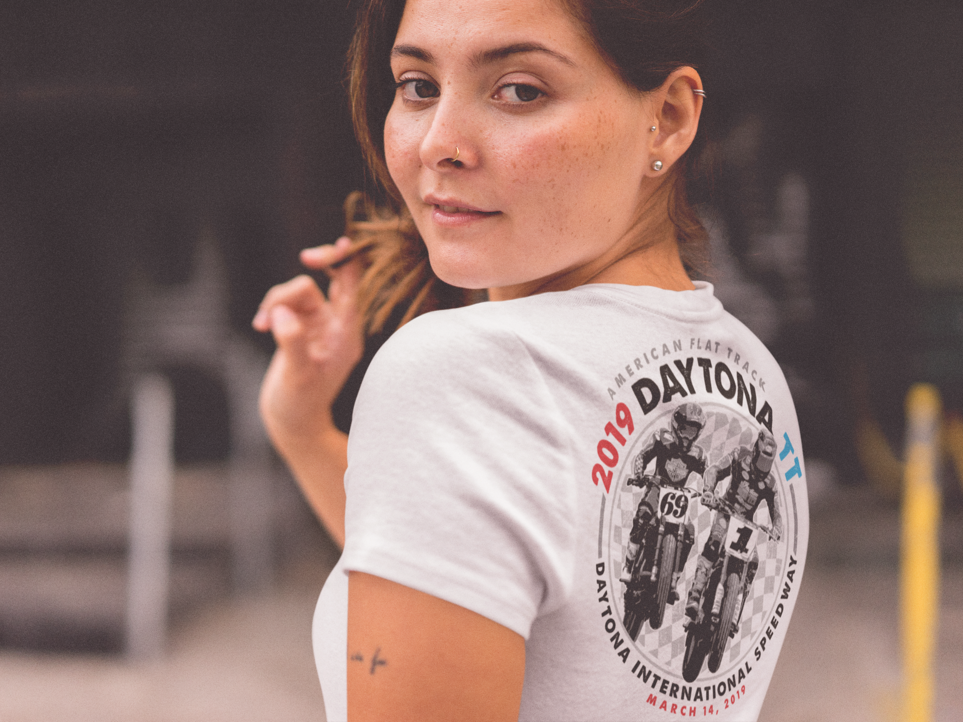 2019 Daytona TT Women's White V-Neck Event T-Shirt