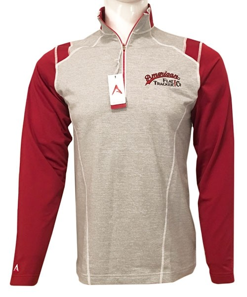 1/4 ZIP ANTIGUA BRAND AMERICAN FLAT TRACKER -  EMBROIDERED RED