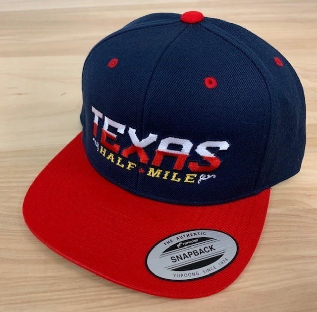 2019 Texas Half-Mile Men's Navy Blue/Red Embroidered Snapback Event Hat