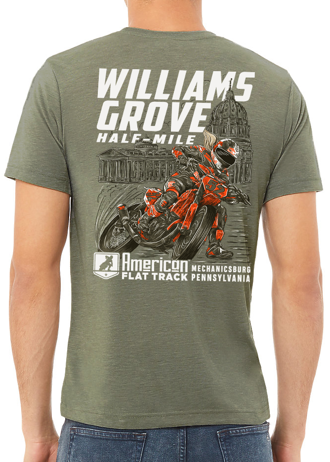 2020 Williams Grove Half-Mile Military Green Event T-Shirt