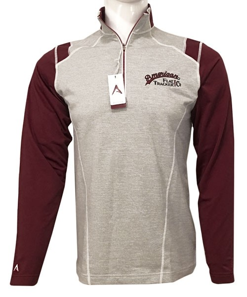 1/4 ZIP ANTIGUA BRAND AMERICAN FLAT TRACKER -  EMBROIDERED MAROON