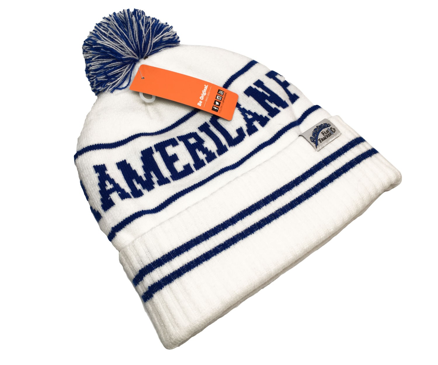 AMERICAN FLAT TRACKER KNIT CAP - WHITE/BLUE !! SALE !! 67% OFF