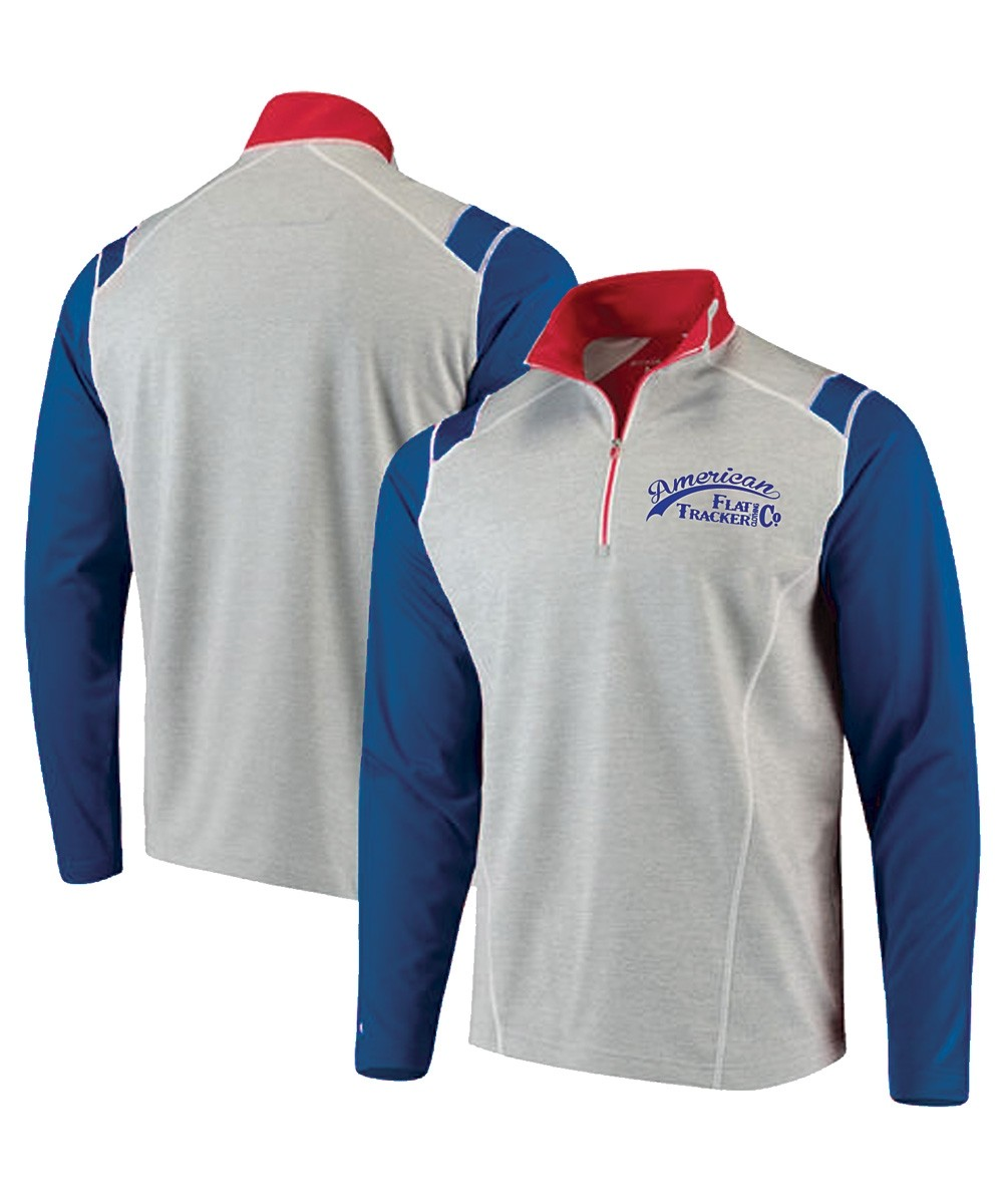1/4 ZIP ANTIGUA BRAND AMERICAN FLAT TRACKER -  EMBROIDERED GRAY / BLUE + RED