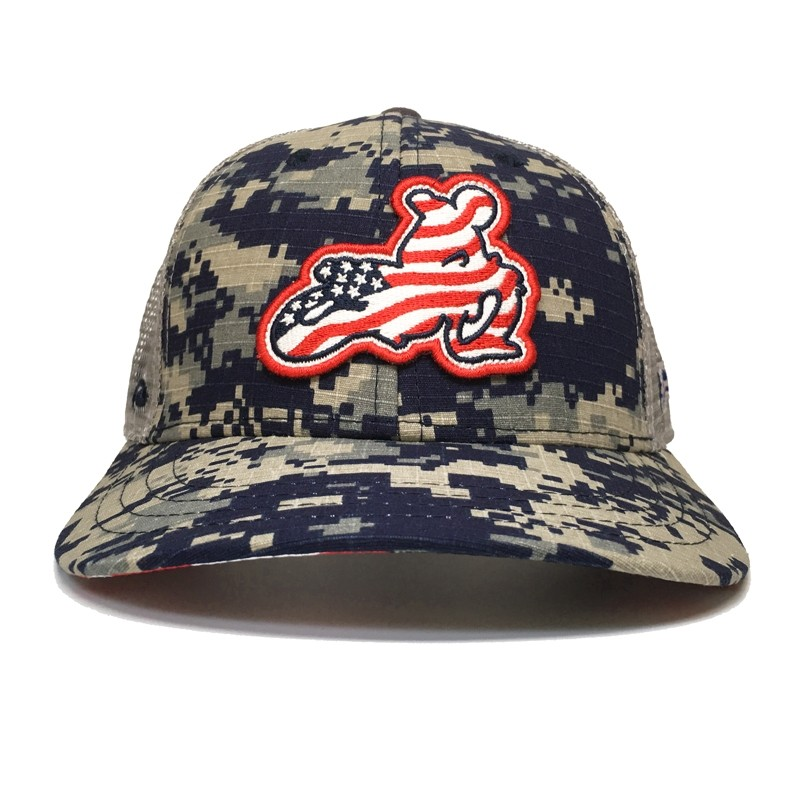 Pukka Brand American Flat Tracker Clothing Co.  PEARL STITCHED LOGO NAVY CAMO SNAPBACK FLATBILL - !! SALE !! 33% OFF