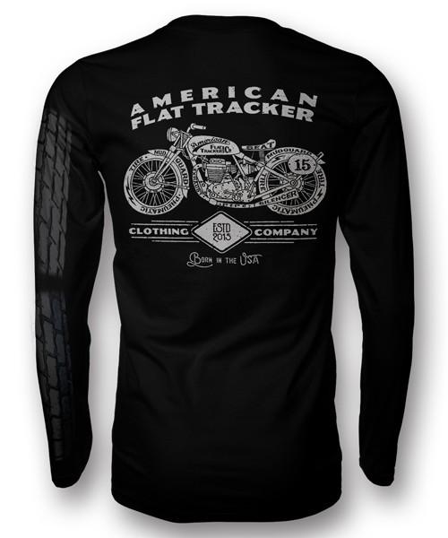 AMERICAN FLAT TRACKER TIRE PRINT LONG SLEEVE FRONT AND BACK PRINT
