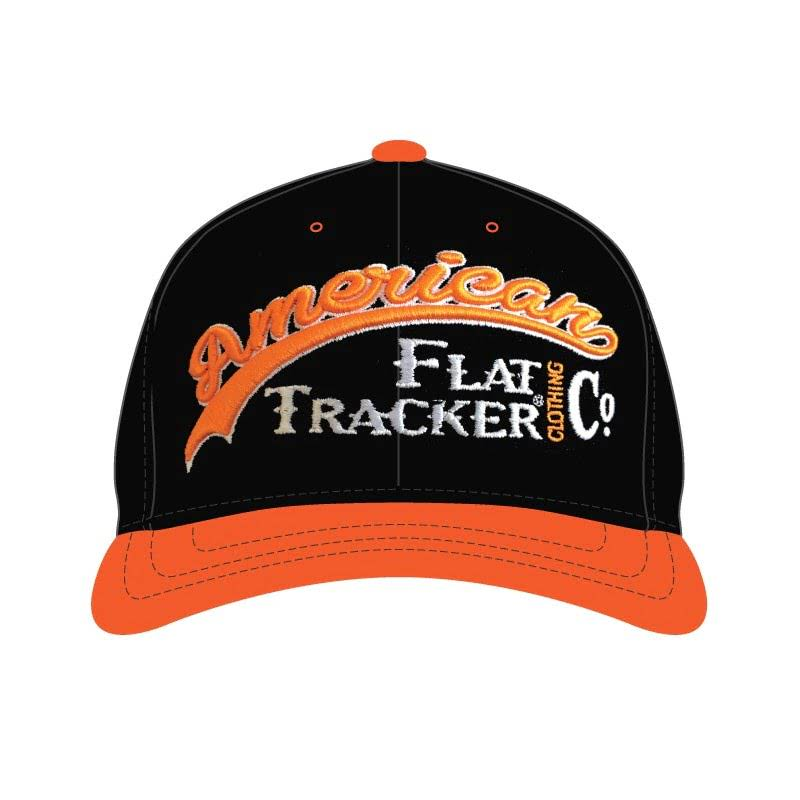 American Flat Tracker Pearl Stitched Black FlexFit - BLACK ORANGE